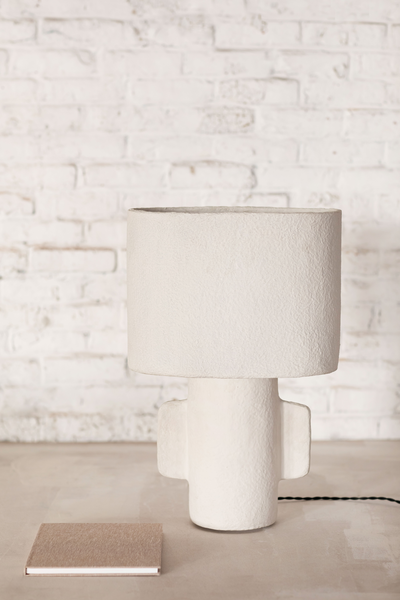 Paper mache serax table lamp to illuminate bedroom and living room