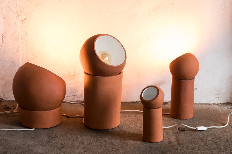 Pottery terra lamp made of terracotta from serax to putt on the floor of the room to decorate